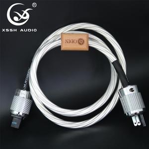 Image 1 - XSSH audio amerykański płyta audio CD wzmacniacz lampowy wzmacniacz 14mm 7 rdzeń 15AWG posrebrzane US ue IEC 3 szpilki 2 pins rysunek kabel zasilający IEC przewód