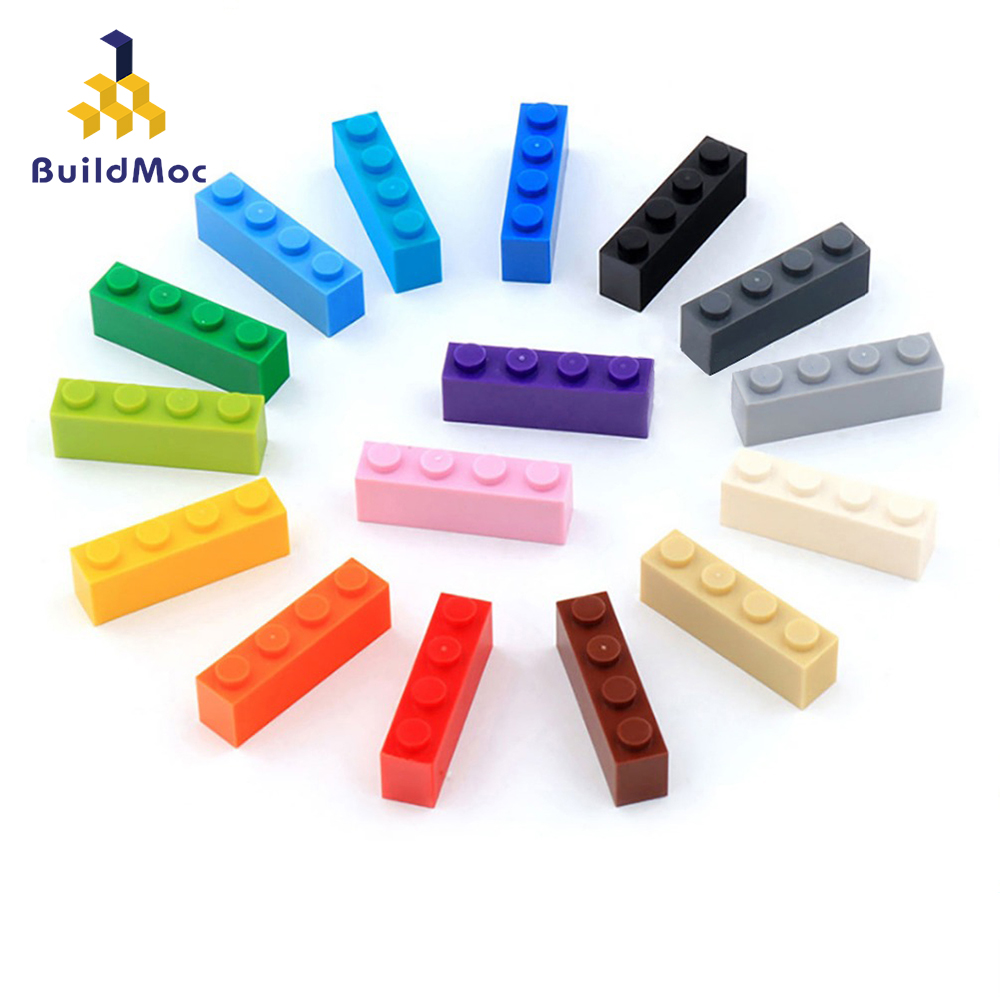 50PCS DIY Building Blocks Figures Thick Bricks 1x4 Educational Creative Size  Bricks Bulk Model Kids Toys for Children