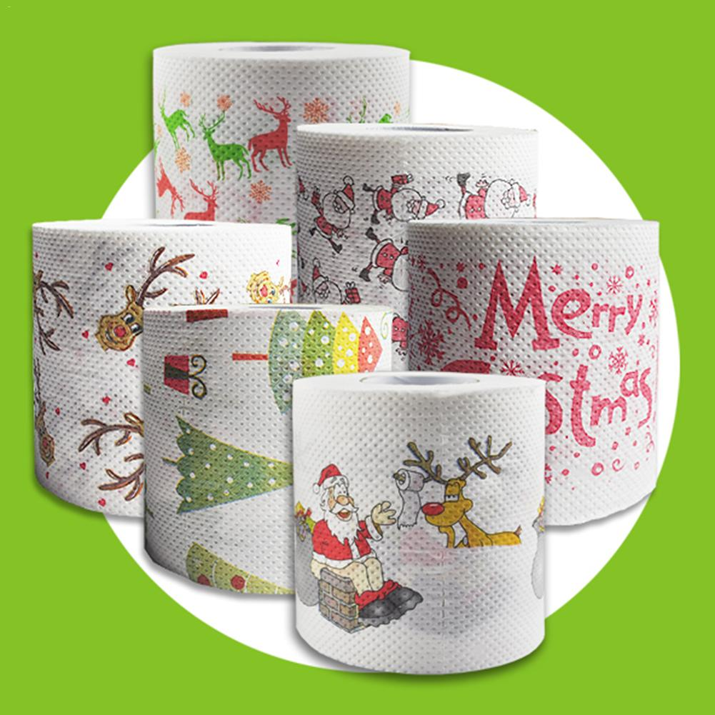 Wholesale Multicolor Creative Christmas Toilet Roll Paper Funny Toilet Paper Disposable Xmas Decor Tissue Roll Santa Claus Tree4