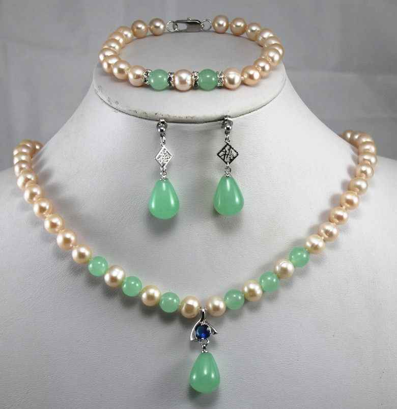 Gratuit>> nouveau Design jaune perle rouge/vert Jade pendentif collier Bracelet ensemble de bijoux