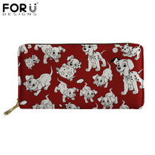 FORUDESIGNS Brand Design Women Wallets Funny Dalmatian Dog Pattern Long Leather