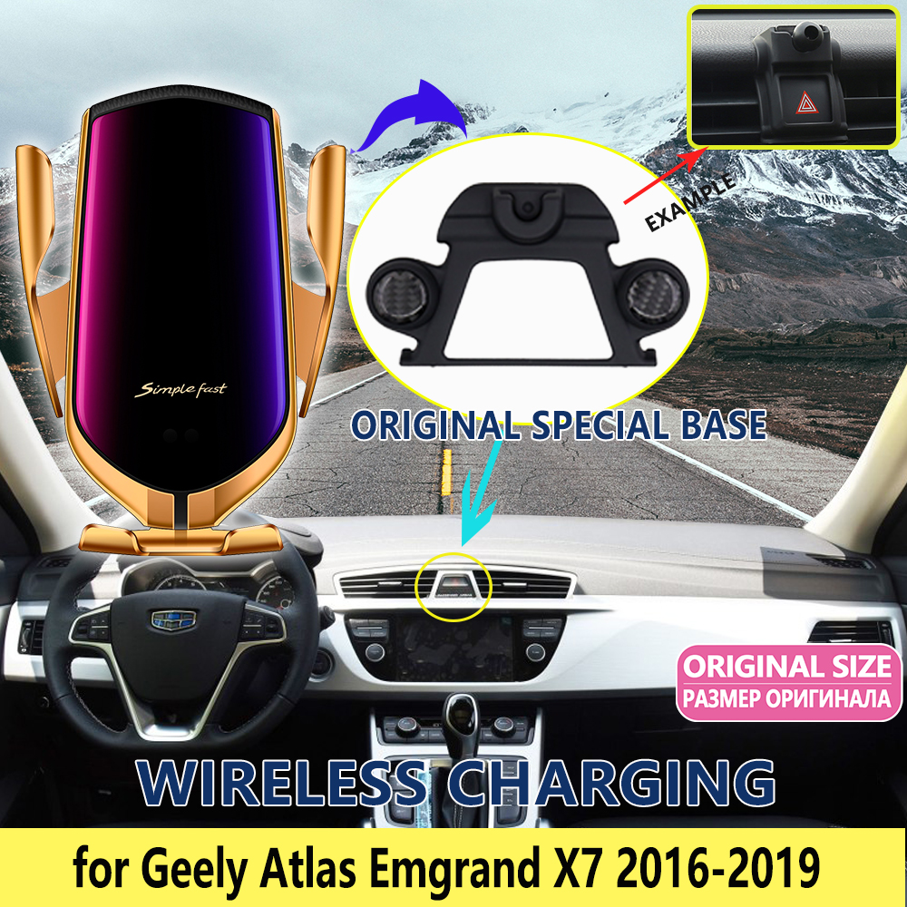Car Mobile Phone Holder for <font><b>Geely</b></font> Atlas <font><b>Emgrand</b></font> <font><b>X7</b></font> Sport 2016 2017 2018 <font><b>2019</b></font> Telephone Bracket Support Accessories for iPhone image