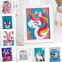 Kits de pintura de diamantes por número para niños, cuadro bordado de diamantes de imitación de cristal, ciervo, unicornio, búho, arte