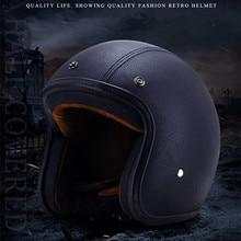Four Season Jet Helmet Open Face Motorcycle Custom Scooter  Black leather Casco