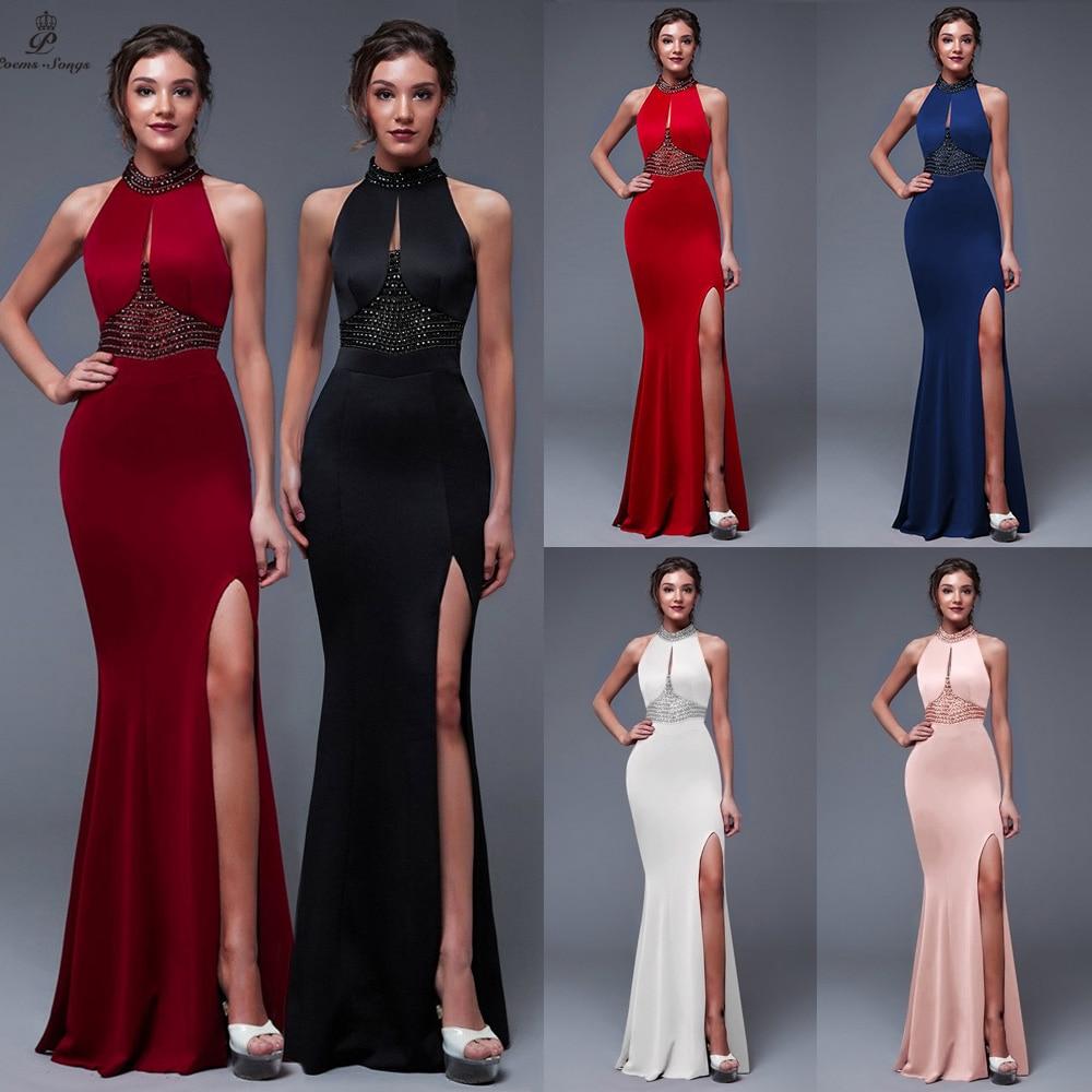Backless Elegant Evening dress Charming Slit Side Open Prom Formal Party dress vestido de festa Elegant Vintage robe longue