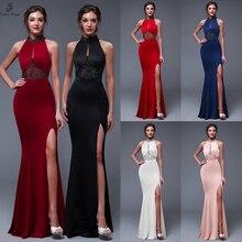 Vestido de noche elegante con Espalda descubierta, abertura lateral, para graduación, fiesta Formal, elegante, Vintage, longue