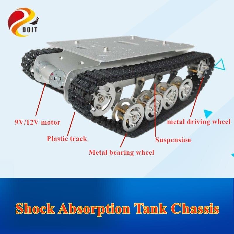 Doit ts100 metal rc tanque robô chassi carro absorção de choque com sistema suspensão lagarta caterpillar para arduino brinquedo diy