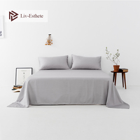 Liv Esthete 2019 Wholesale Luxury 100% Mulberry Silk Gray Flat Sheet Silky Queen King Bed Sheets Pillowcase For Women Men Kids