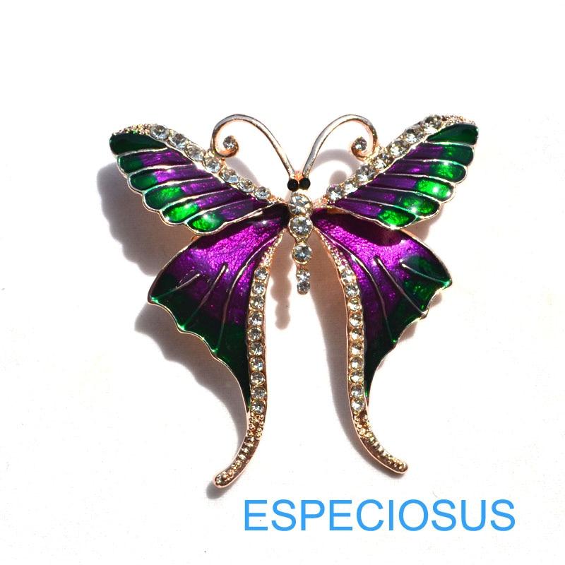 Элегантная булавка золотого цвета для женщин, подарок, Бабочка, стразы, брошь для груди, аксессуары, смешанные цвета, ювелирное изделие, Расписанная брошь Aooly, одежда - Окраска металла: purple