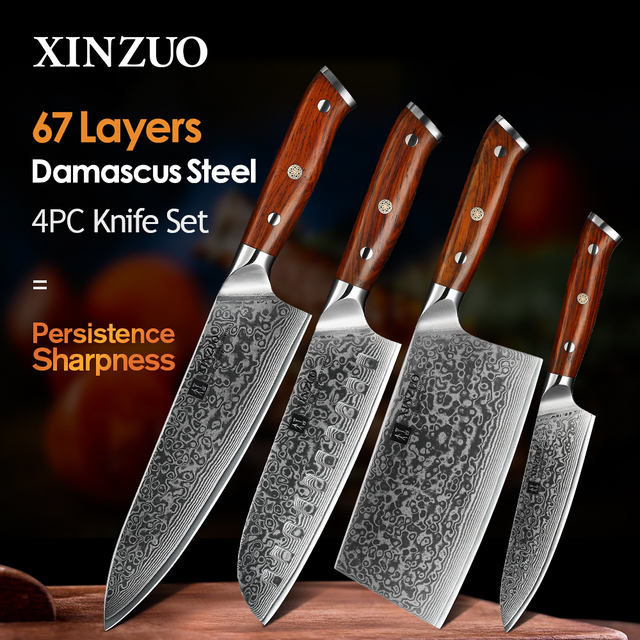 XINZUO 4PCS Kitchen Knife Set VG10 Damascus Steel Big Cleaver Chef Knives Stainless Steel Santoku Butcher Knife Rosewood Handle