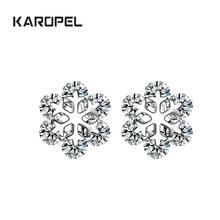 2019 New Fashion Snow Ice Flower CZ Zircon Crystal Stud Earrings for Women earrings Jewelry Gifts