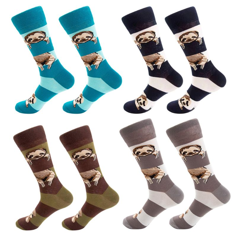 Women Men Funny Cartoon Sloth Animal Cotton Crew Socks Contrast Color Stripes Printed Harajuku Hip Hop Skateboard Tube Hosiery