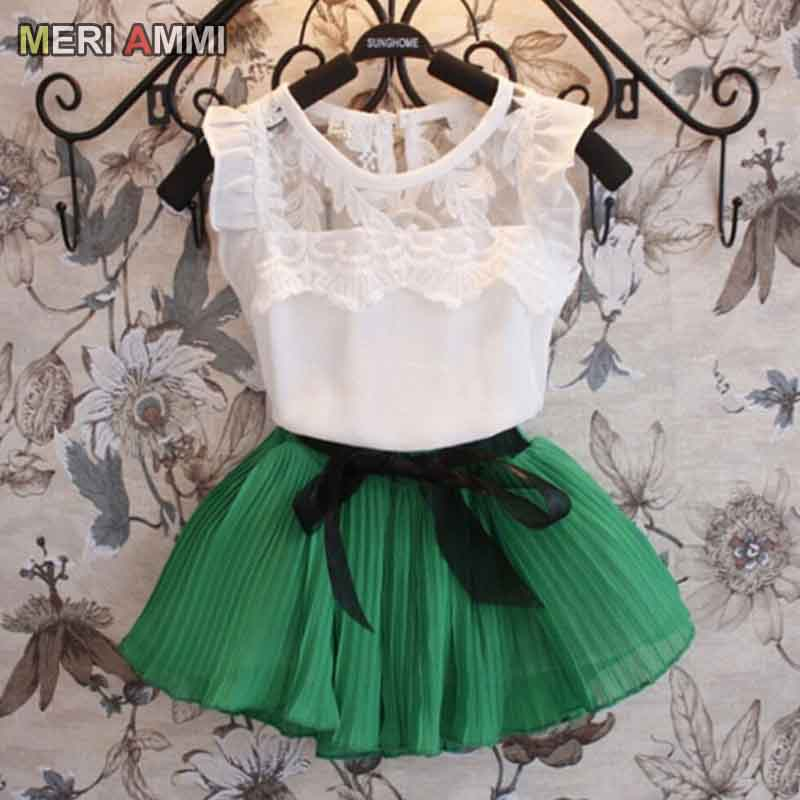 MERI AMMI Baby Girl Clothing Suit Lace Sleeveless Tee Floral Top +Skirts With Bow Outwear Outfit For 3-11 Year Girl,J546