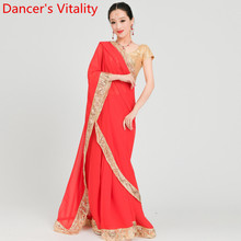 Adult Fashion Indian Dance Sari Customized Color Skirt Performance Competition W