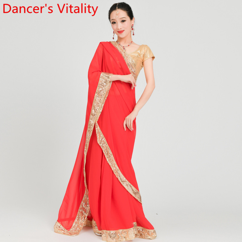 Adult Fashion <font><b>Indian</b></font> Dance <font><b>Sari</b></font> Customized Color <font><b>Skirt</b></font> Performance Competition Women Handmade Sequin Clothes Stage Wear Garments image