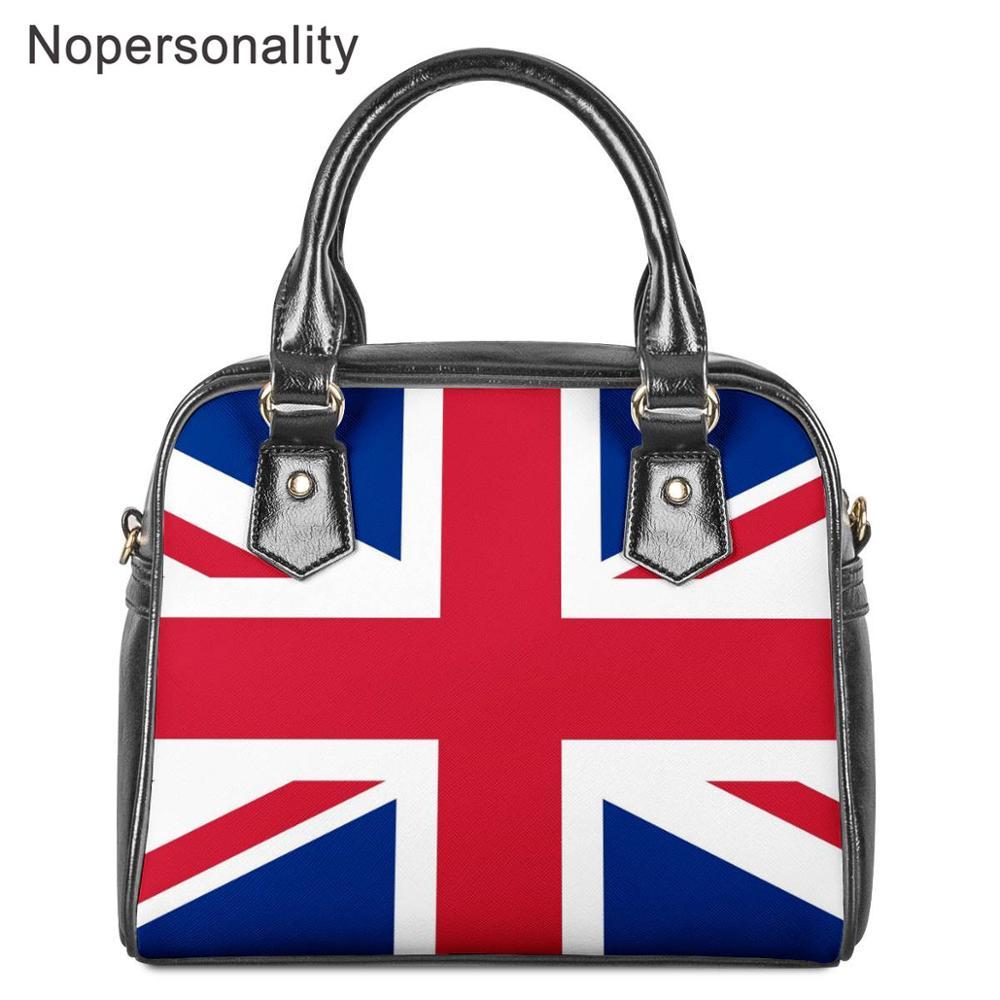 Nopersonality US/UK Flag Printed Teen Girl Shoulder Bags Women PU Leather Tote Handbags Waterproof Crossbody Bag for Female