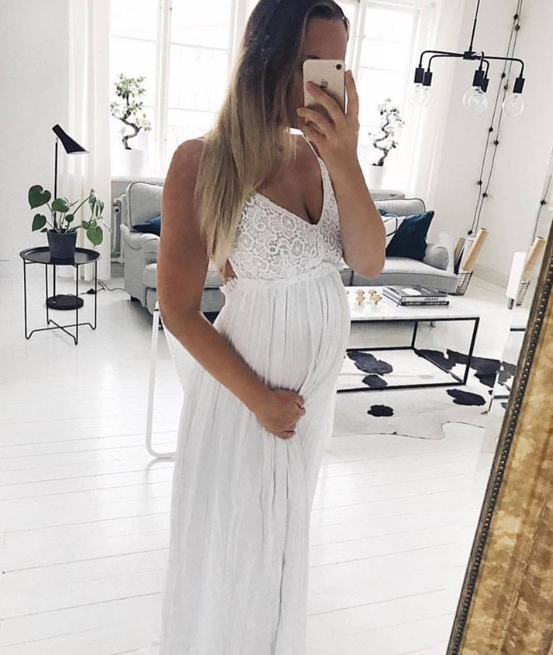 Sexy Maternity Pregnancy Dress Photography Lace Linen Long Sling Dresses For Pregnant Women Backless Maxi Gown Photo Shoots Prop (5)