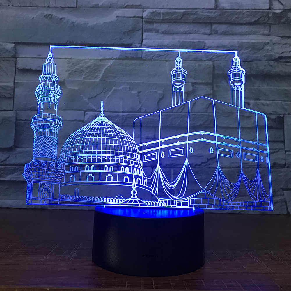 Templo Castelo Palácio Cor Mudar Led Night Light Quarto Home Decor Lampara Lâmpada Presente Luz Noturna para o Ramadã Muçulmano Mesquita 3d