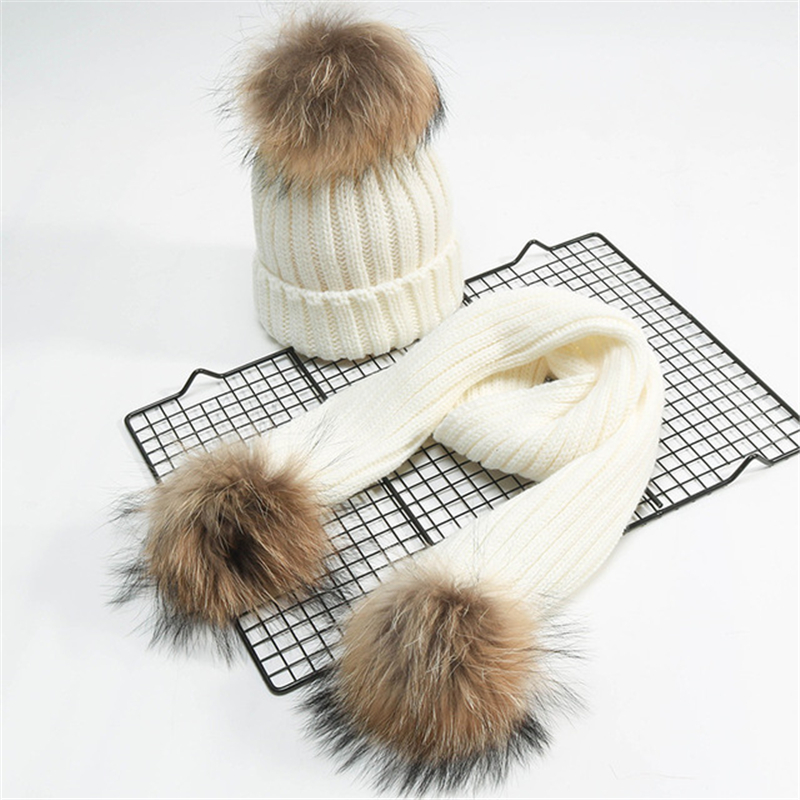 Autumn And Winter Children's Raccoon Fur Ball Wool Hat Boys And Girls Fashion Knit Hat Wild Warm Hat Set Head Cap