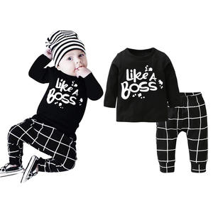 2 Pcs Newborn Toddler Baby Boy Clothes Set Long Sleeve Letter Like A Boss T-shirt+Pants Infant Clothing Set Kids Toddler Outfits