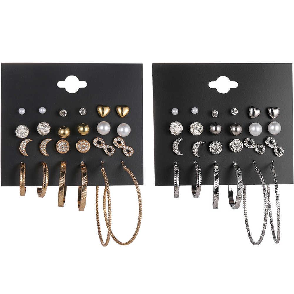 12 ペアヨーロッパとアメリカ Temperamen 星ムーン小さな 8 言葉イヤリング耳リングコンビネーションセットジュエリー卸売