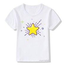 Футболка для мальчиков и девочек с рисунком сверкающих звезд