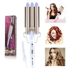 Kemei инструменты для ухода за волосами и укладки утюжок для завивки волос щипцы для завивки волос Вращающийся стиль стайлер для завивки волос керамический бигуди с защитой от ожогов 4