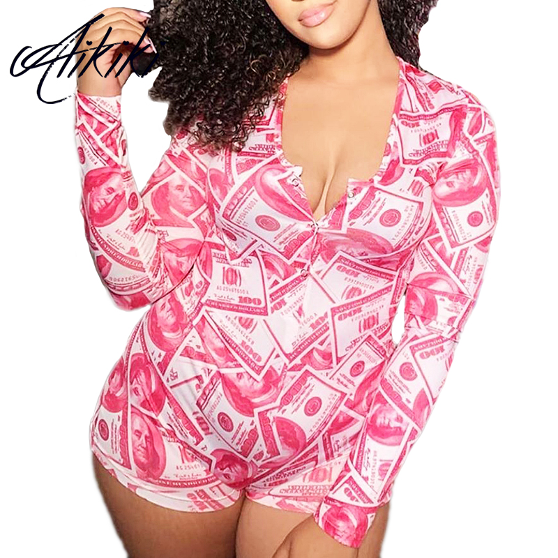 Money Print Sexy Onesie Short Pajamas For Women Adults Sleepwear Jumpsuit Rompers Atoff Home Wear Plus Size Pajamas Onesies