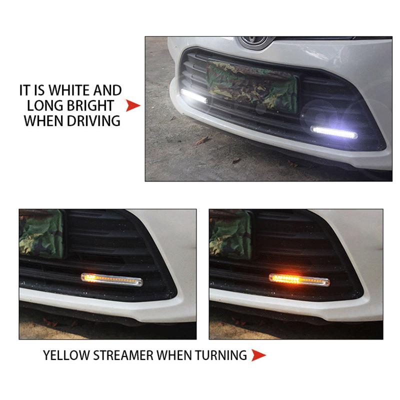 2pcs Universal Car LED Daytime Running Light DRL With Turn Signal Lamp Headlight Sequential Flow Day Light Auto Modified 12V