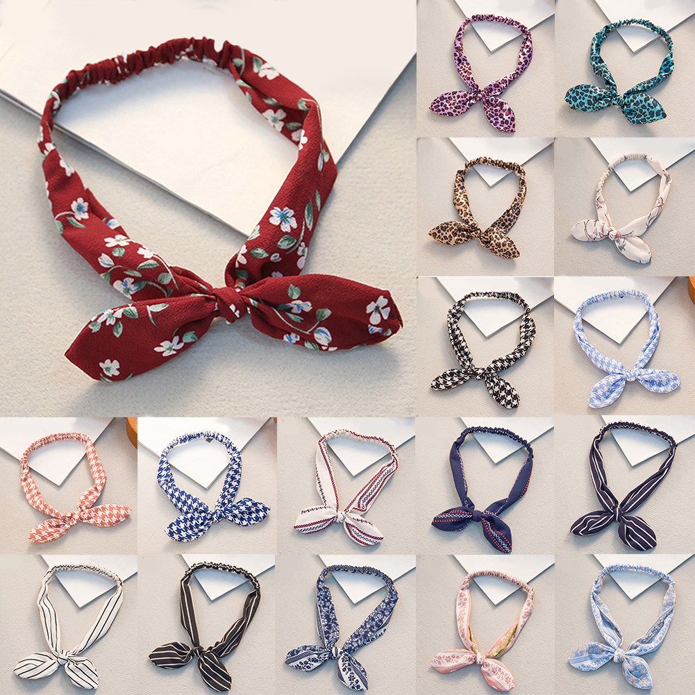 Retro Women Bandana Rabbit Ear Headband Leopard Striped Plaid Hair Bands Bowknot Elastic Iron Wire Hairband Floral Scrunchie Hot
