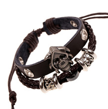 Festival Gift Skull and Women Woven Leather Gifts for Men Friendship Charm Mens Bracelets 2019 Skull Classic Punk Casual Sporty woven artificial leather beaded friendship bracelets set