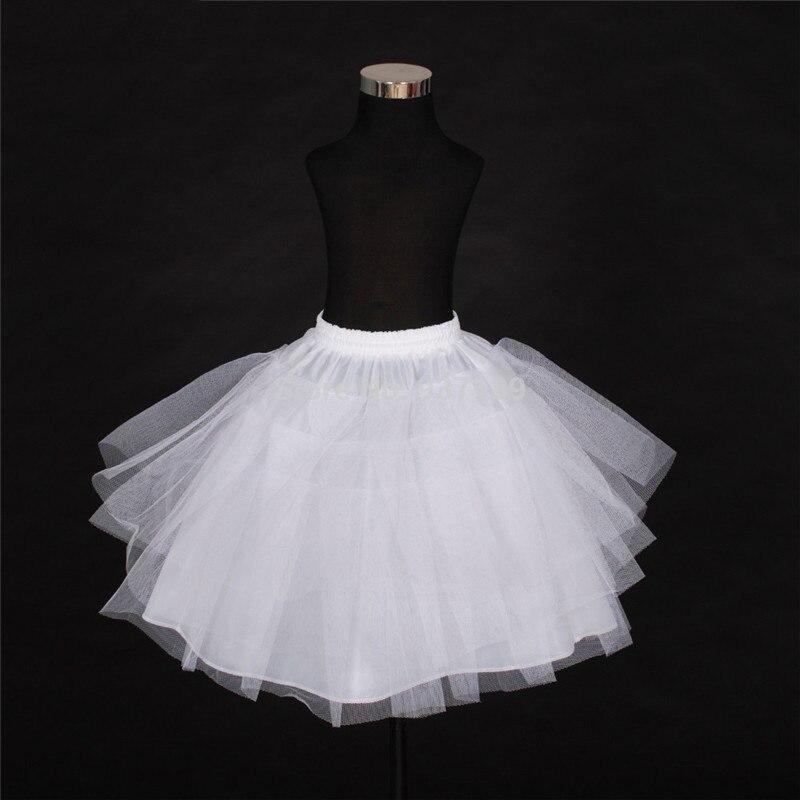 E JUE SHUNG 3 Layers Children Short Petticoats White Black Flower Girl Underskirt Child Crinolines/Underskirt