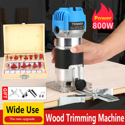 800W  Electric Hand Trimmer Wood Carving Machine With Carrying Case Woodworking Wood Milling Slotting Machine