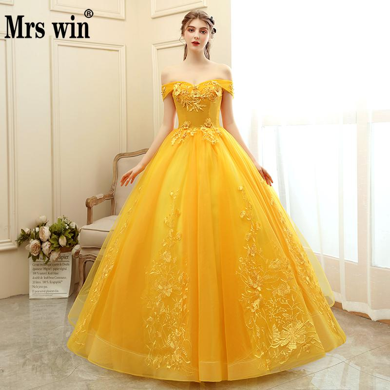 Mrs Win Quinceanera Dress 2020 New Prom  Dress Yellow Ball Gown Sweet Floral Print Quinceanera Dresses Robe De Bal Custom Size