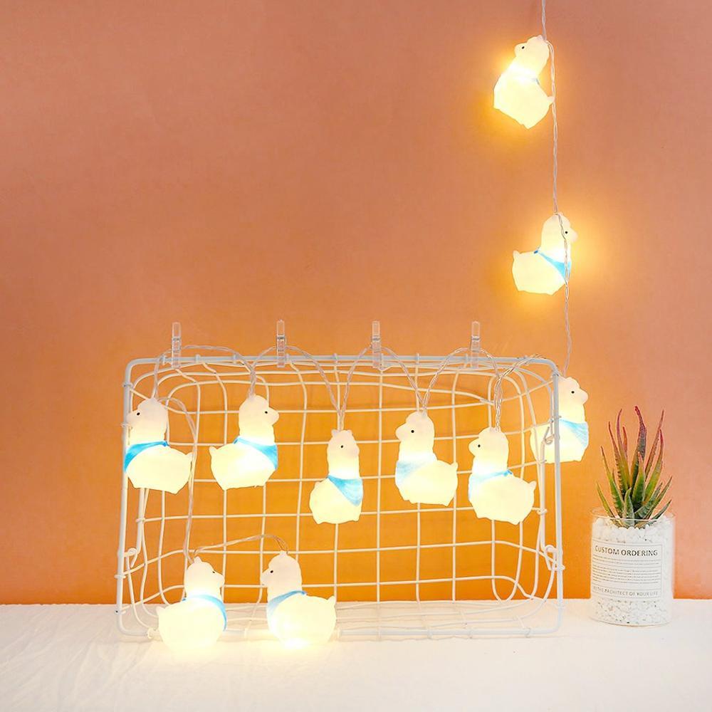 Creative Alpaca Flower String Light 10 Led Night Light Wedding Party Home Decor Silicone Wedding Room Layout Light String