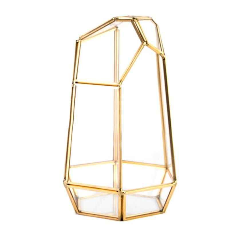 Винтажные Угловые протекторы латунный стеклянный террариум контейнер настольные вазоны для суккулентного папоротника Моха для эпифитов держатель Miniatu