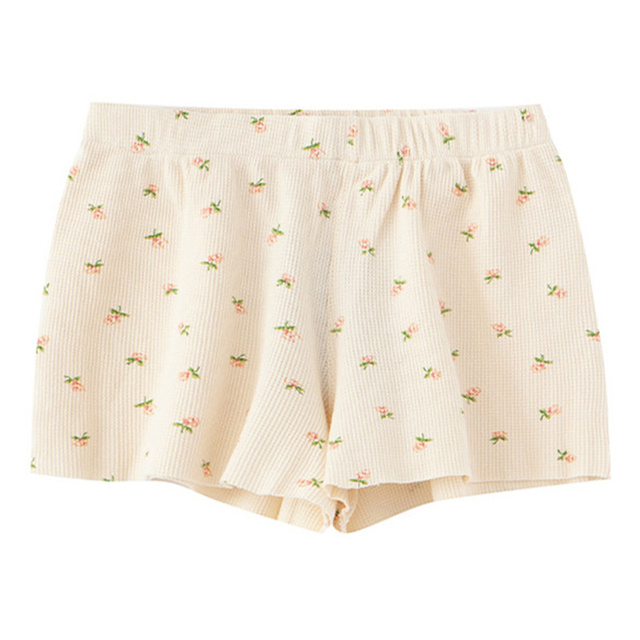 PUWD Y2K Sweet Girls Floral Soft Cotton Shorts 2021 Summer Fashion Ladies High Waist Flower Bottoms Casual Women Chic Shorts 1