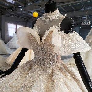 Image 5 - HTL1083 الكرة ثوب الزفاف الفاخرة الكريستال عالية الرقبة قبالة الكتف العروس روب للنوم حجم كبير جديد vestidos دي نوفيا 2020