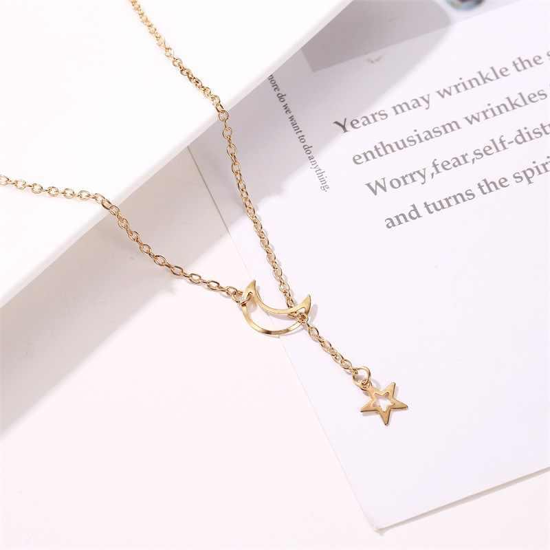 Nowe mody gwiazda Hollow wisiorek z księżycem łańcuchy naszyjniki dla kobiet regulowany łańcuch w kolorze złotym Collares Party biżuteria prezent NB319