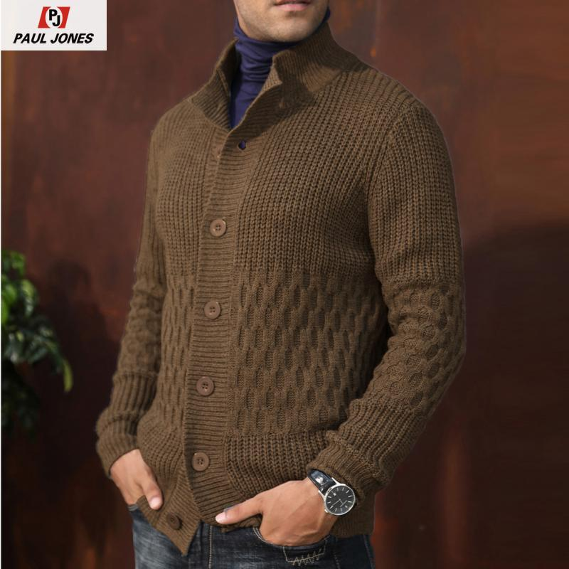 PAUL JONES Knitwear Men's Long Sleeve Cardigan Sweater Soft Knitted Button Jacket Stand Collar Honeycomb Cardigan Coat PJA02003