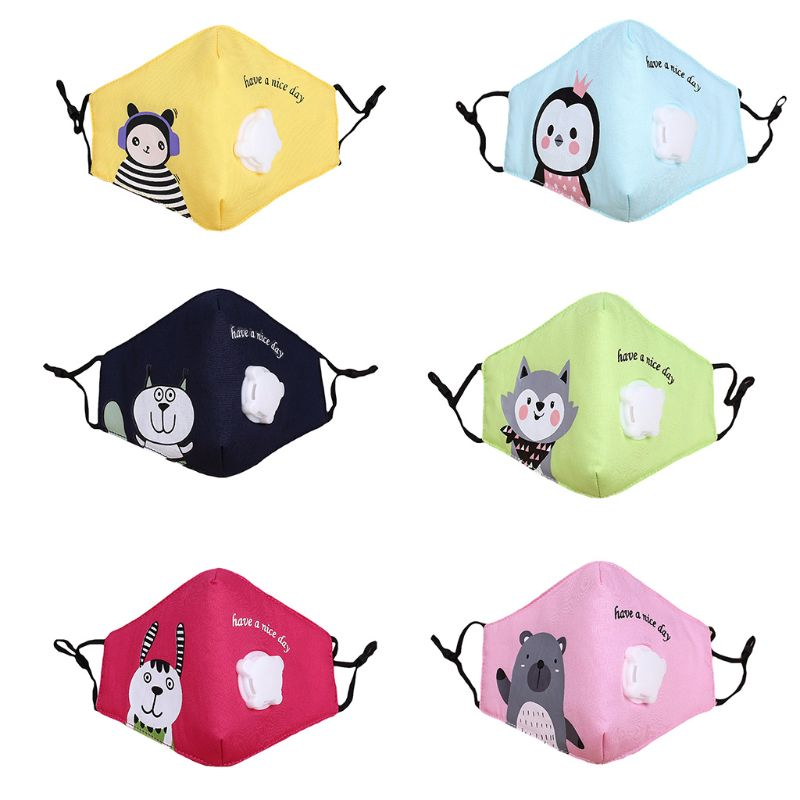 Children Kids Cotton Face Mouth Mask Cute Colorful Cartoon Printed Filter Respirator With Breath Valve