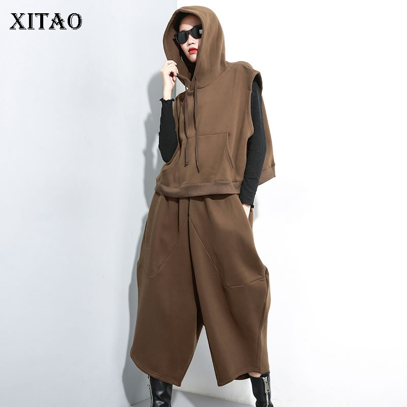 XITAO Two Piece Set Off Shoulder Drawstring Pocket Petal Sleeve Top Elastic Waist Plus Size Ankle Length Pants Elegant WLD2730