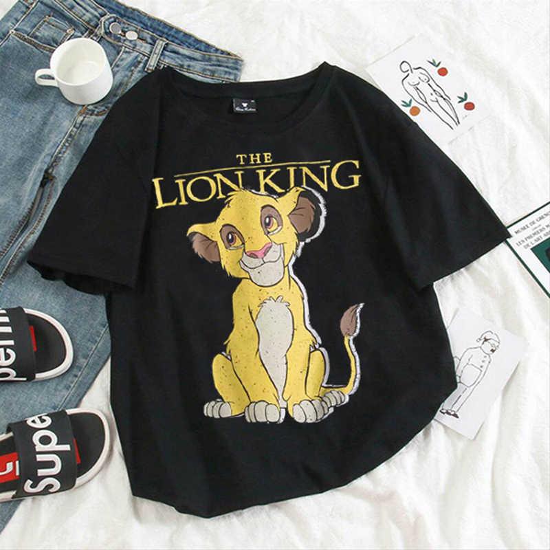 HAKUNA MATATA Lion King การ์ตูนสั้นแขนสั้นเสื้อ T ผู้หญิงสองสิงโตน้อยพิมพ์ Vogue O คอ TEE เสื้อ Femme