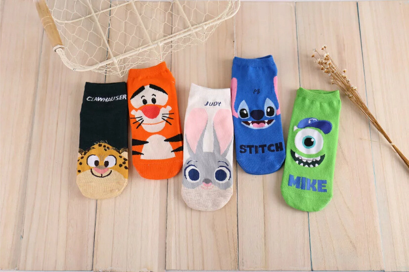 Spring And Summer 2020 New Women's Boat Socks Breathable Cotton Socks College Style Cute Cartoon Character Socks Ankle Socks