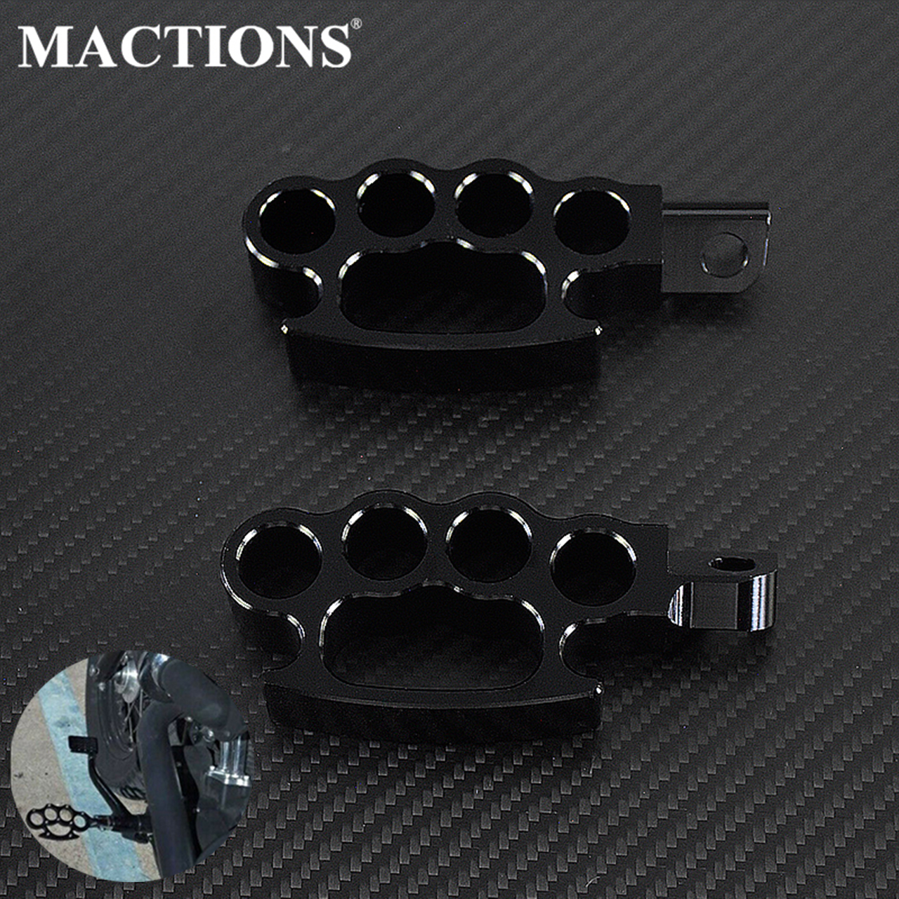 Motorcycle Flying Knuckle Footrests Control  Black Footpegs Foot Pegs Custom Pedal For Harley Sportster XL Dyna Softail V-Rod