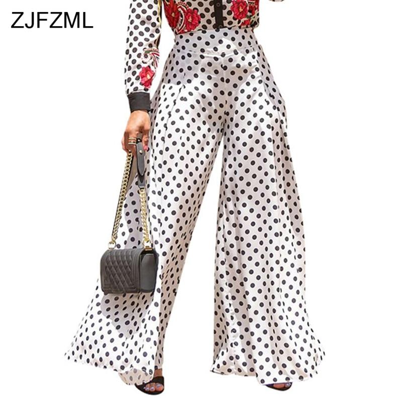 ZJFZML Polka Dot Loose Wide Leg Pants Casual Black White High Waist Full Length Trouser 2018 Women Long Pants For Autumn Winter