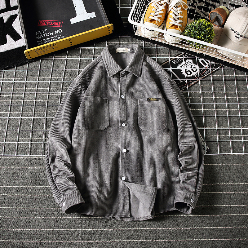 Winter Padded Corduroy Shirt Men Warm Fashion Retro Solid Color Casual Cotton Shirt Men Loose Long-sleeved Shirt M-5XL