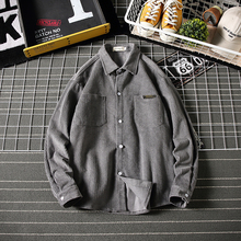 Winter Padded Corduroy Shirt Men Warm Fashion Retro Solid Color Casual Cotton Loose Long-sleeved M-5XL
