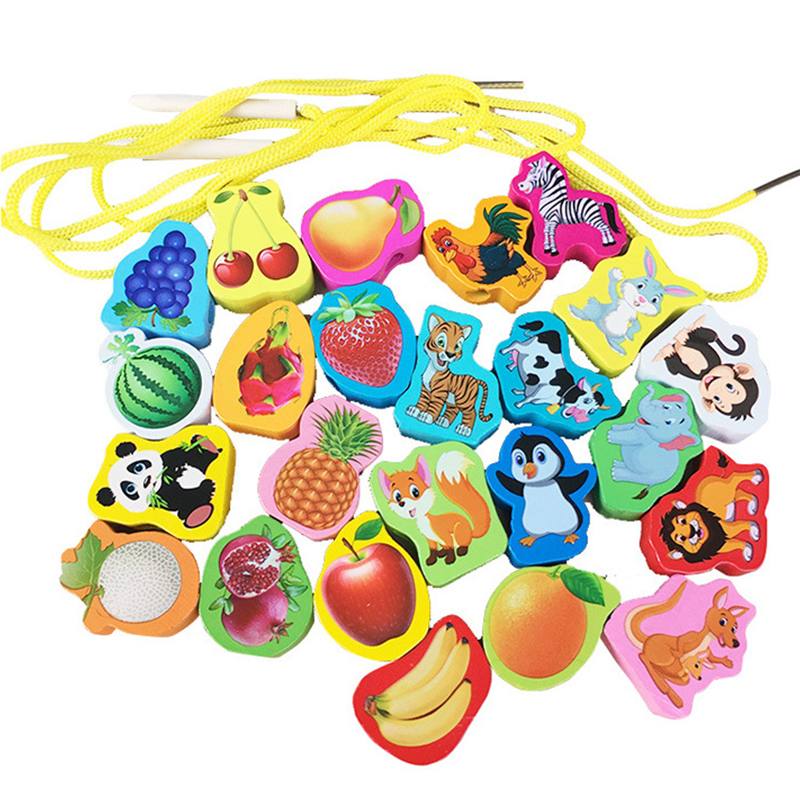 24pcs/set Baby Wooden Beads Toys Numbers Fruits Animals Letters Beading Toy Kids Stringing Threading Beads Game Montessori Toy