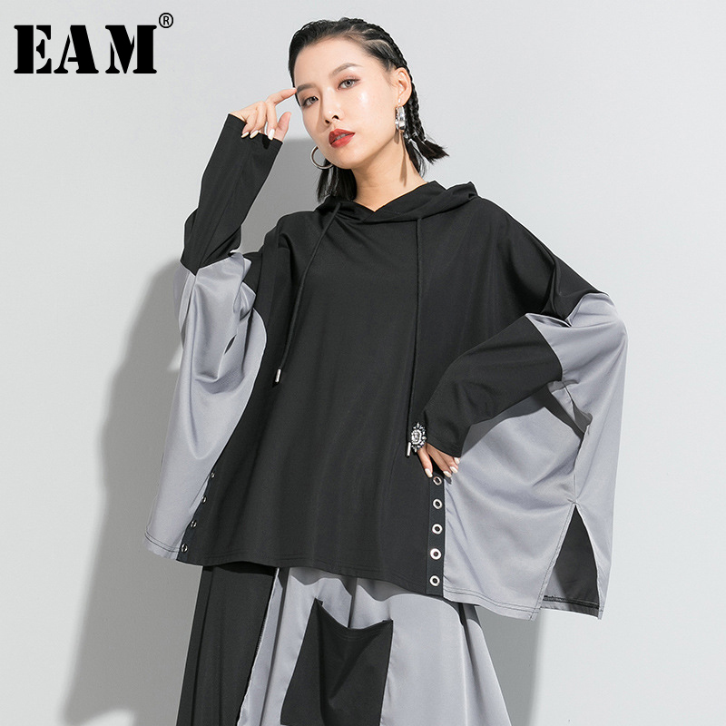 [EAM] Women Black Contrast Color Split Joint Big Size T-shirt New Hooded Long Sleeve  Fashion Tide  Spring Autumn 2020 1R639